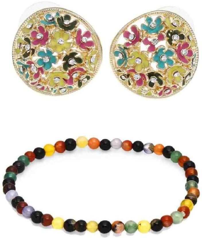 Golden Peacock Earring and Bracelet combo Beads Alloy Stud Earring