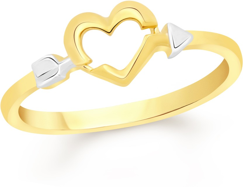 VK Jewels Arrow in Open Heart Alloy Cubic Zirconia 18K Yellow Gold Plated Ring