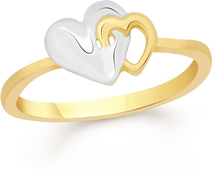 VK Jewels Tiny Dual Heart Alloy Cubic Zirconia 18K Yellow Gold Plated Ring
