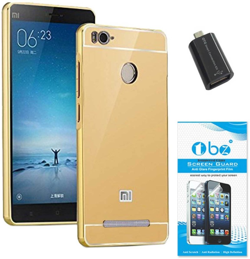 TBZ Cover Accessory Combo for Metal Bumper Acrylic Mirror Back Cover Case for Xiaomi Redmi 3s Prime with OTG Adaptor and Tempered Screen Guard