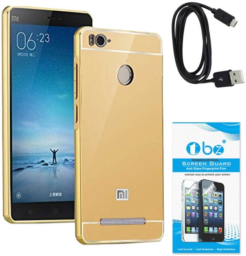TBZ Cover Accessory Combo for Metal Bumper Acrylic Mirror Back Cover Case for Xiaomi Redmi 3s Prime with Data Cable and Tempered Screen Guard