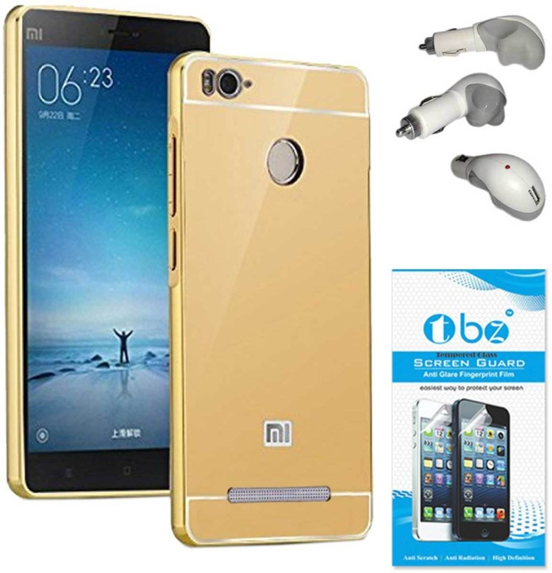 TBZ Cover Accessory Combo for Metal Bumper Acrylic Mirror Back Cover Case for Xiaomi Redmi 3s Prime with Car Charger and Tempered Screen Guard