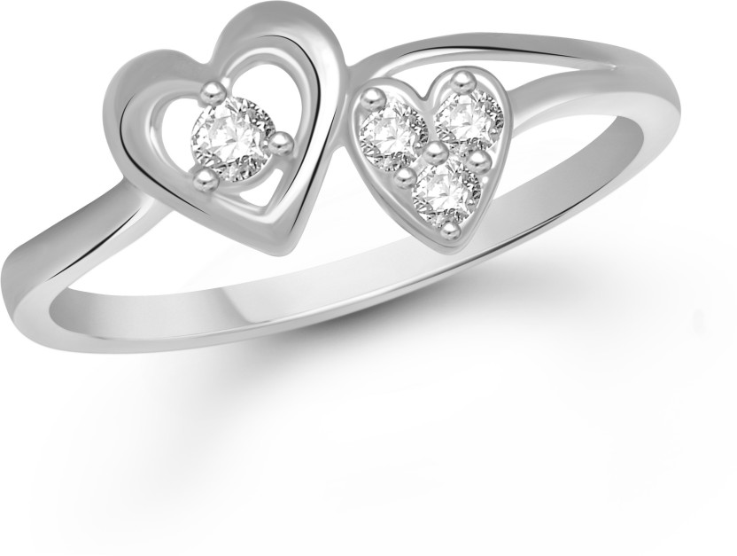 VK Jewels Admirable Dual Heart Alloy Cubic Zirconia Rhodium Plated Ring