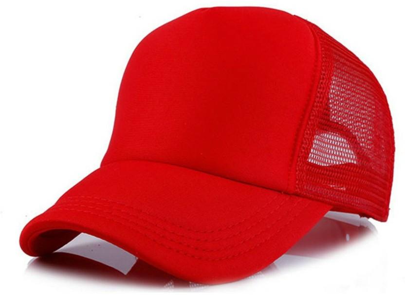 Friendskart Solid Plain Red Half Net Cap In Baseball Style,Trucker Cap For Men