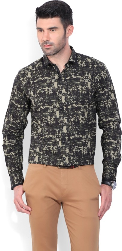 Wills Lifestyle Men Printed Casual Green Shirt