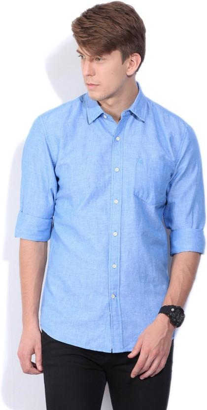 Wrangler Men Solid Casual Blue Shirt