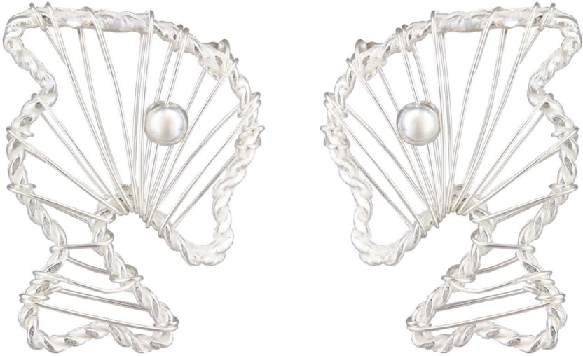 Mirror White Filigree Dolphin Studs Sterling Silver Stud Earring