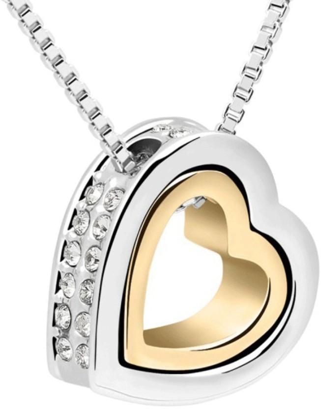 Nakabh Love Forever Heart in Heart Elegant Rhodium, Titanium Alloy, Brass Pendant