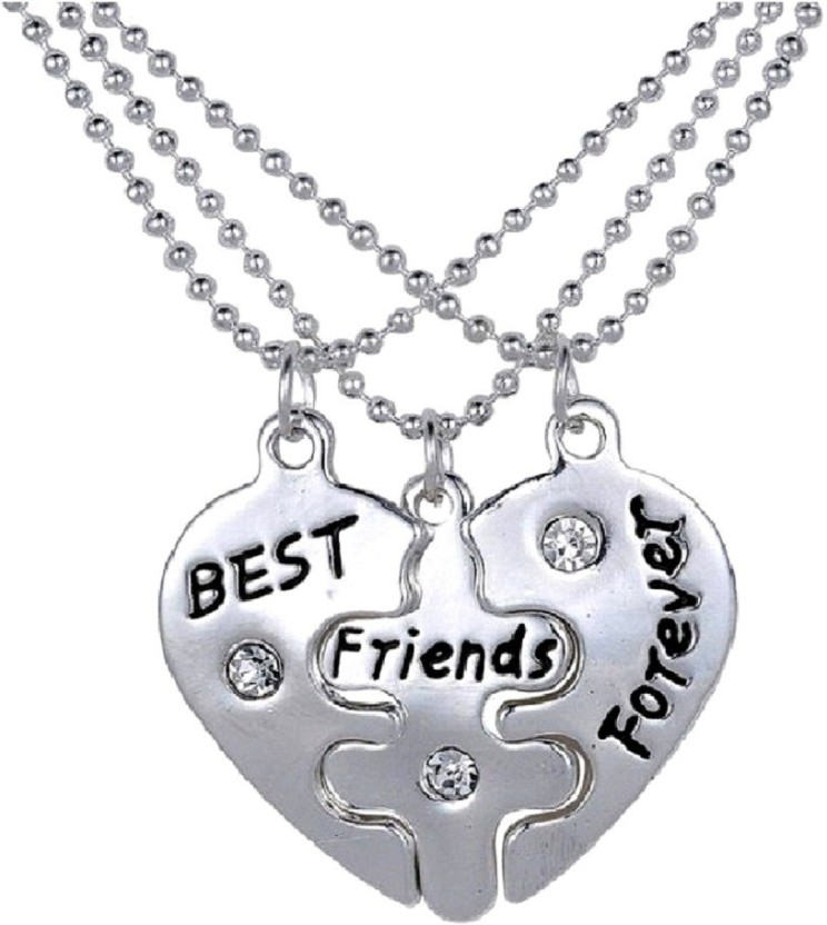 Aaishwarya Silver Best Friends Forever Chain Silver Crystal Alloy Pendant Set