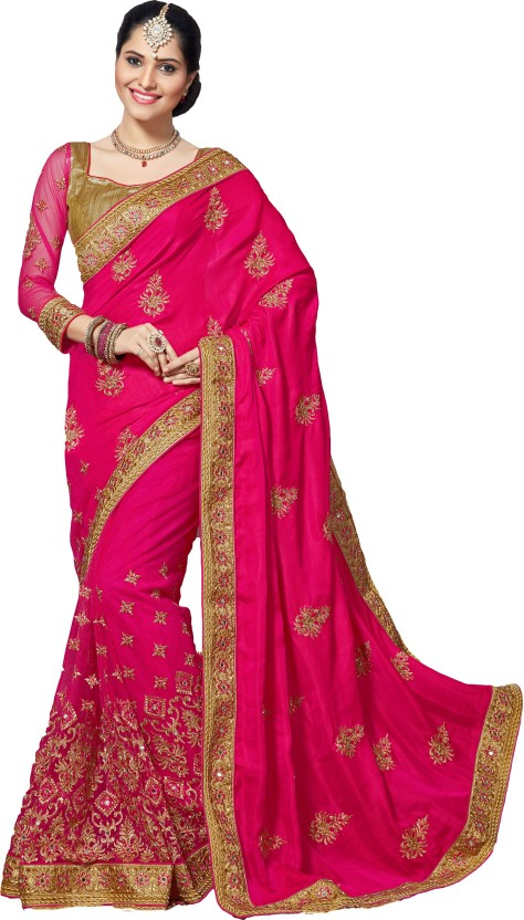 M.S.Retail Embroidered Bollywood Silk, Crepe, Net Saree