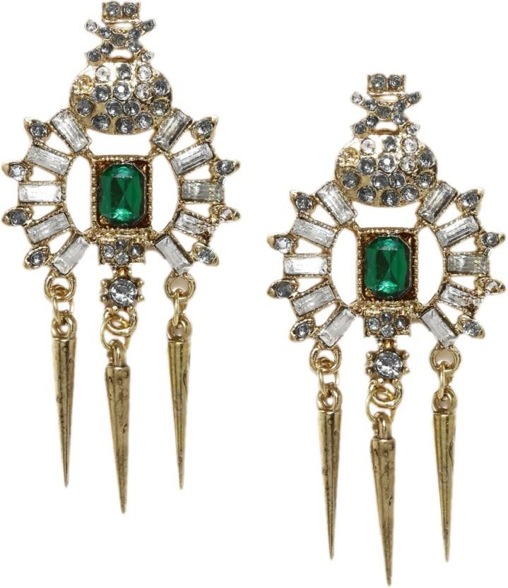 Golden Peacock Drop Earring Crystal Alloy Drop Earring