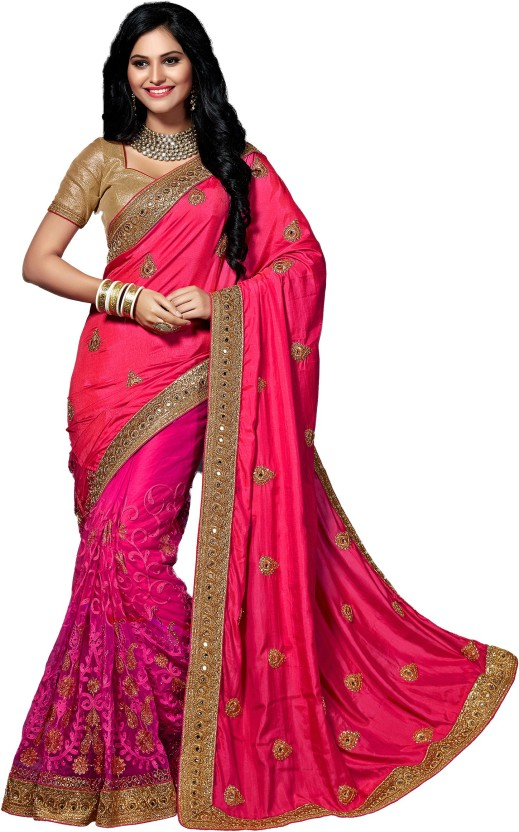 M.S.Retail Embellished Bollywood Silk, Net Saree