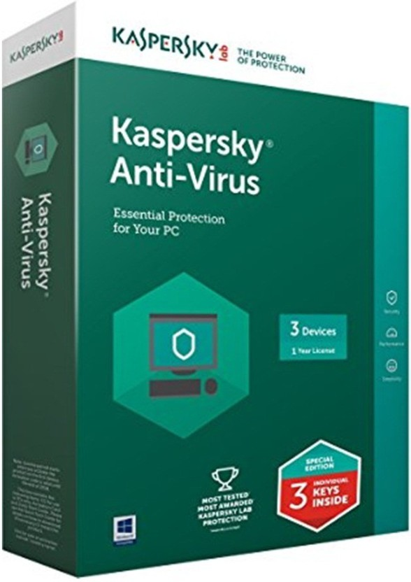 KASPERSKY Antivirus Software 2017 3 Pc 1 Year (1cd,3 serial keys Every Key 1 Year Validity)