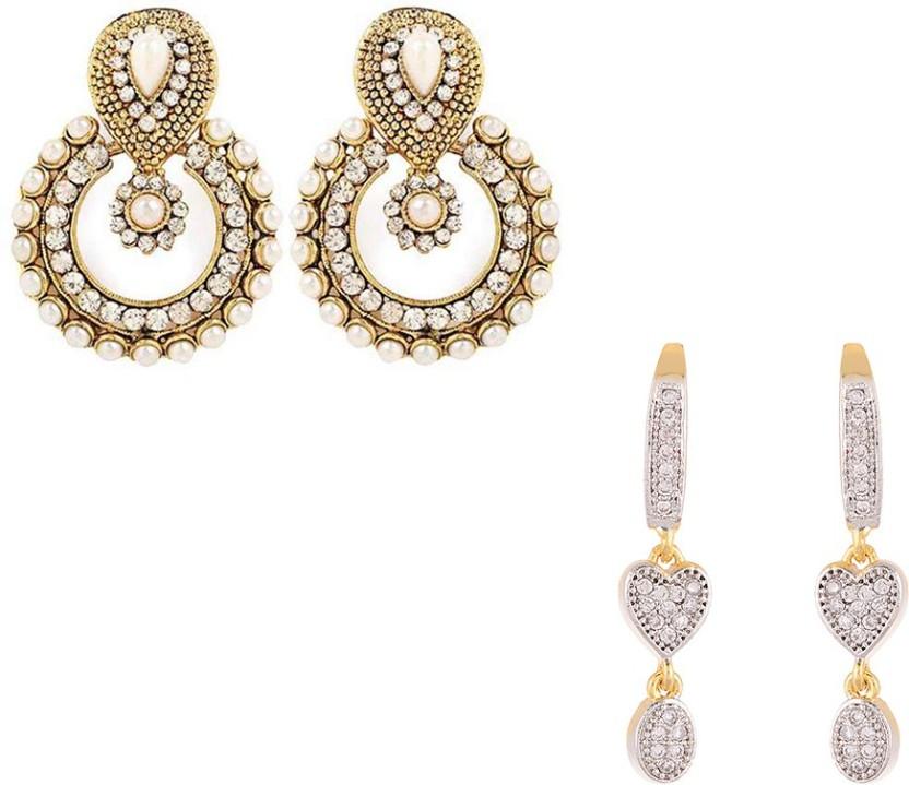 Zeneme Combo of Elegant Pearl Earrings & Heart Shape Earrings set of 2 Alloy Chandelier Earring