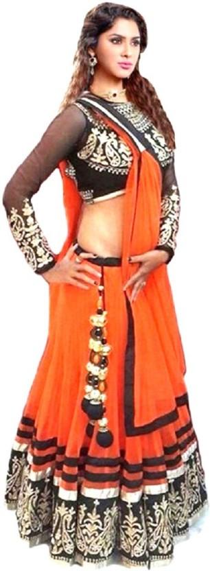 Aarya Fashion Net Embroidered Semi-stitched Lehenga Choli Material