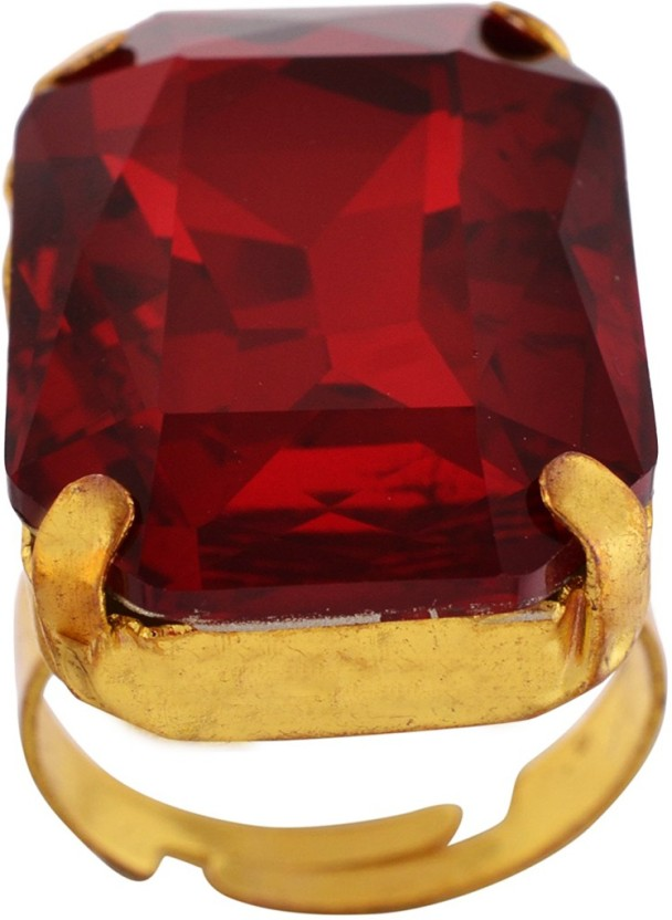 Bella Vista Red Swarovski Ring for Women from Bella Vista- Size: Free Size Brass Brass Plated Ring