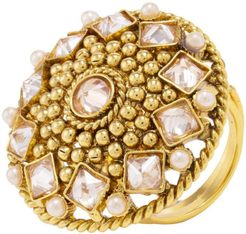 Voylla Artificial Classic Plain Alloy Crystal Yellow Gold Plated Ring