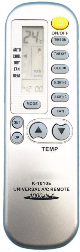 Singtronics Chunghop K-1010e 1000 in 1 Universal air conditioner ac remote for LG Samsung Whirlpool Hitachi and Others Remote Controller