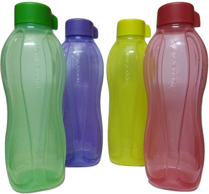 Tupperware AQUASAFE WATER BOTTLES 1000 ML (Pack of 4, Multicolor) 1 L Bottle