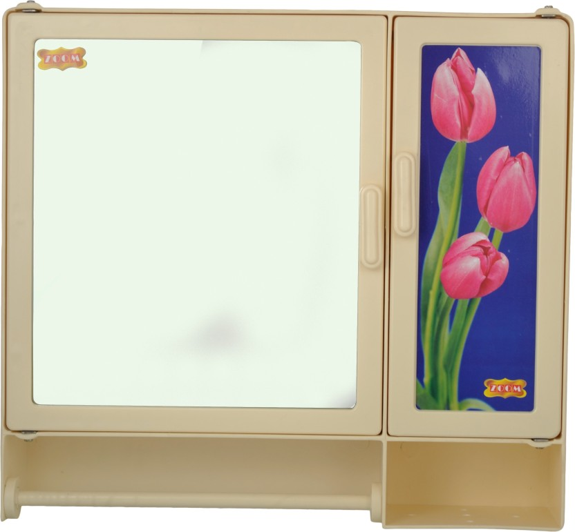"Zoom Butterfly Single Mirror storage Bathroom Cabinet (Rod) Plastic Mirror Storage Chest 17\""x4\""x16\""Inches (Color-Ivory Beige) Plastic Wall Shelf"