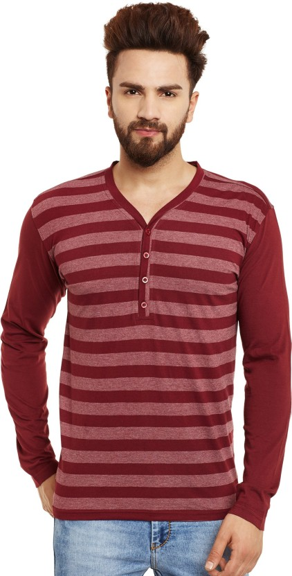 Urbano Fashion Striped Men Henley Dark Blue, Grey, Maroon T-Shirt