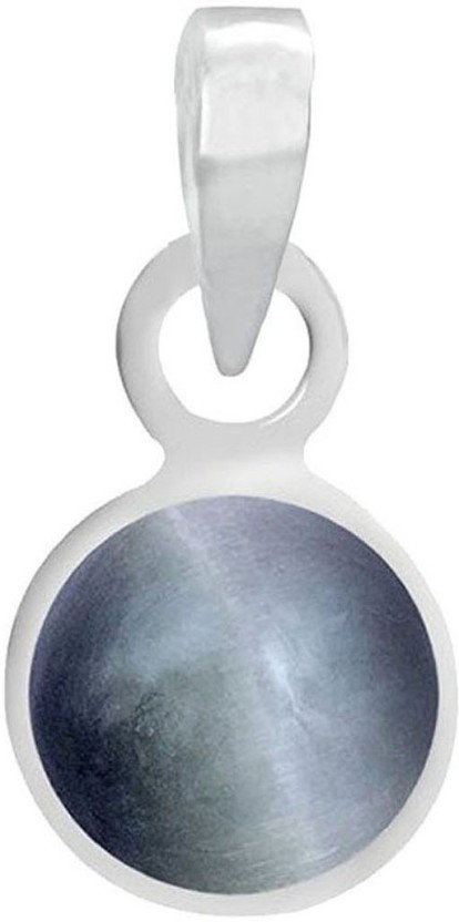 PTM Natural Certified Cats Eye (Lehsuniya) Gemstone 7.25 Ratti or 6.60 Carat for Male and Female Sterling Silver Pendant