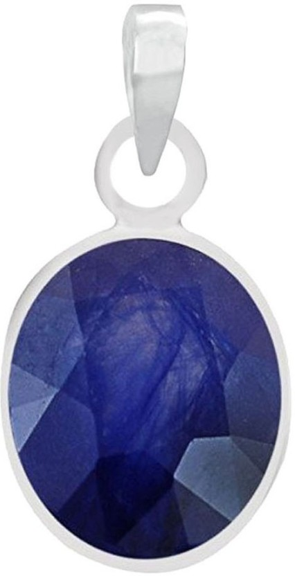 PTM Natural Certified Blue Sapphire (Neelam) Gemstone 5.25 Ratti or 4.65 Carat for Male and Female Sterling Silver Pendant