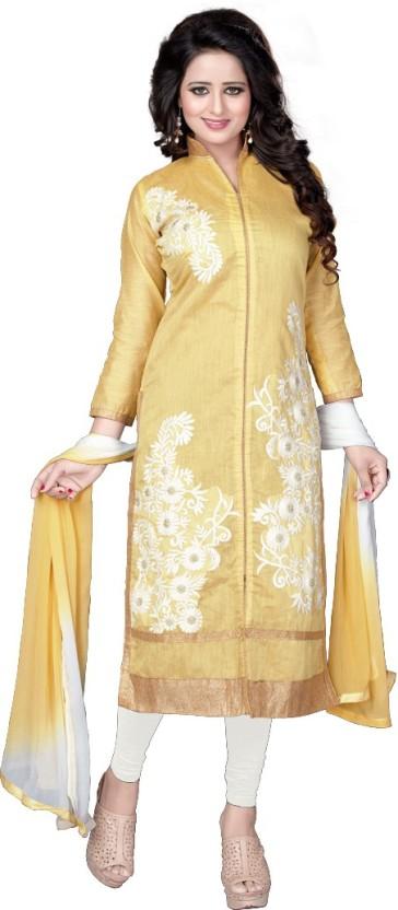 Fashion Ritmo Chanderi Embroidered, Self Design Semi-stitched Salwar Suit Dupatta Material