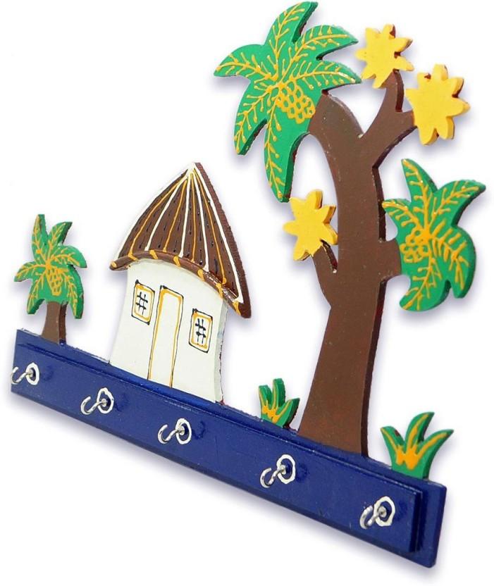 R S Jewels Paper Mache Key Holder With Hut Design Wooden Key Holder