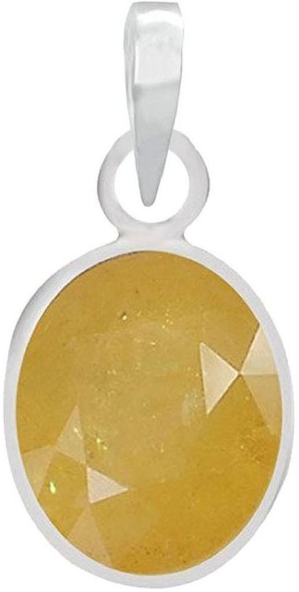 PTM Natural Certified Yellow Sapphire (Pukhraj) Gemstone 7.25 Ratti or 6.50 Carat for Male and Female Sterling Silver Pendant