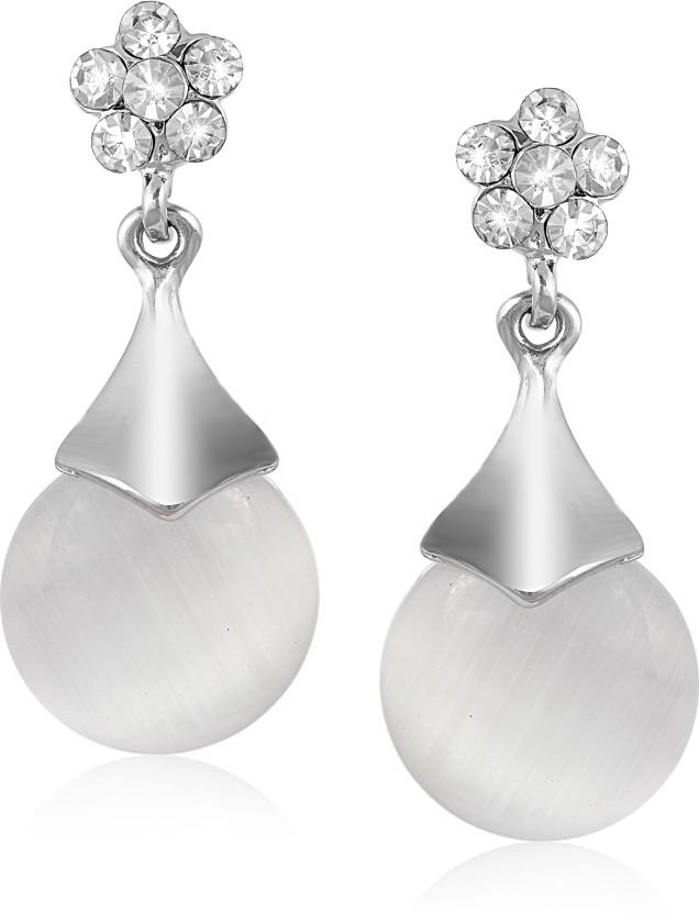 VK Jewels Diamond Heart Drop Pearl Cubic Zirconia Alloy Drop Earring