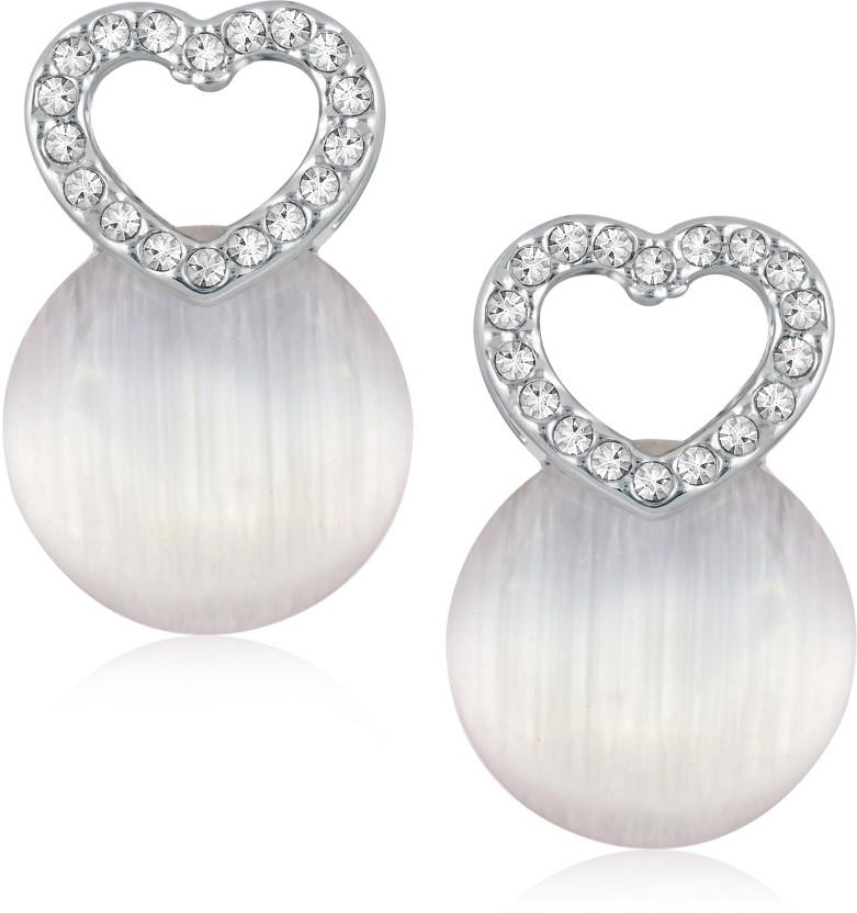 VK Jewels Small Heart Circular Pearl Cubic Zirconia Alloy Drop Earring
