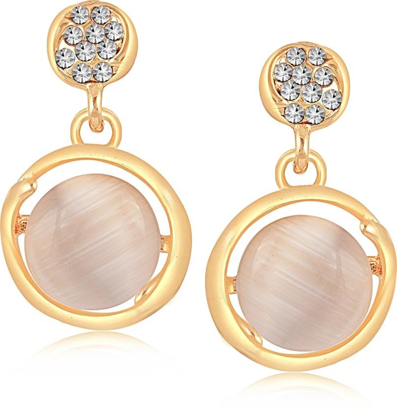 VK Jewels Bulky Heart Cubic Zirconia Alloy Drop Earring