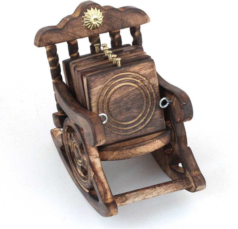 GREENTOUCH 6 Compartments WOODEN Antique Look Chair Shape Tea Coaster Set Gift Item