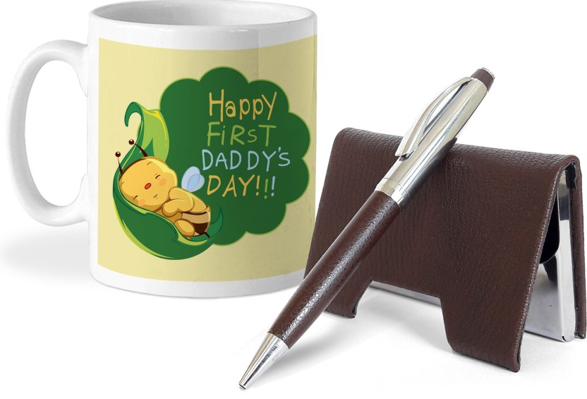 Tied Ribbons Gift for father from daughter Card Holder and Pen with Coffee Mug Gift Set