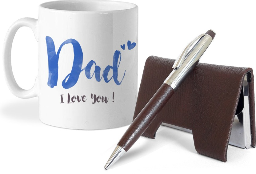 Tied Ribbons Fathers day gifts from daughter Card Holder and Pen with Coffee Mug Gift Set