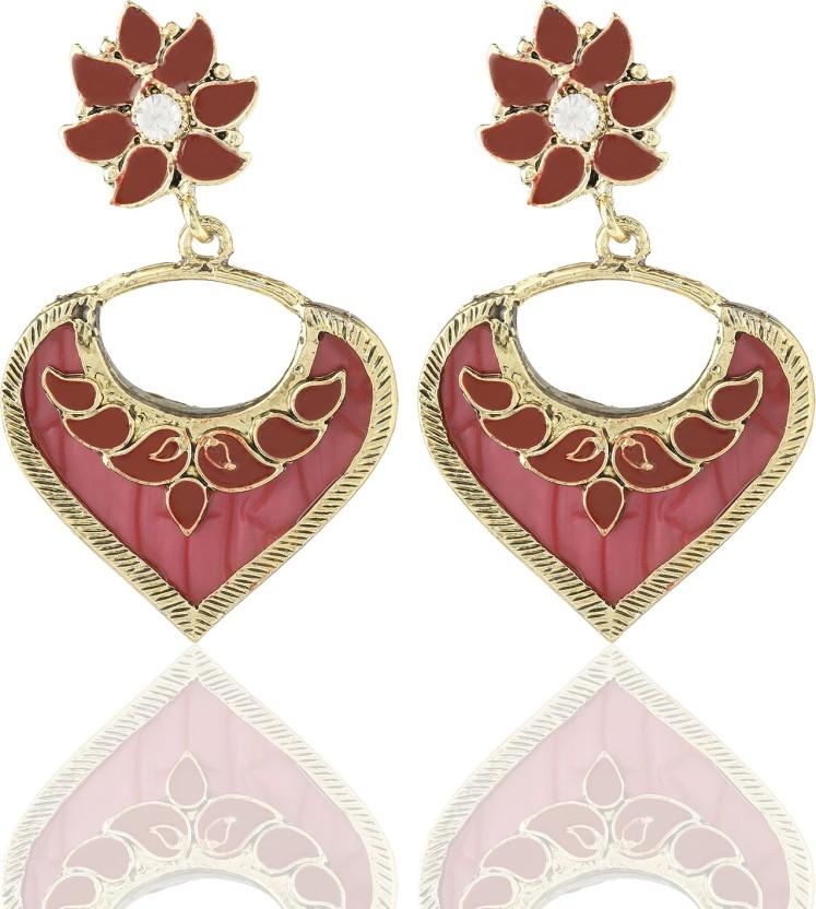 Castle Street Red Heart Alloy Chandelier Earring
