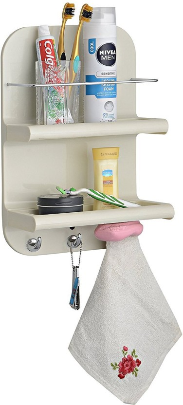 Upasana Works Shower Tidy White Plastic Wall Shelf