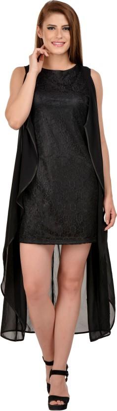 KARMIC VISION Women Fit and Flare Black Dress