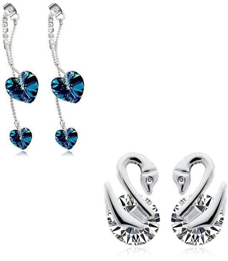 Yellow Chimes Love Symbols Combo Silver Swan N Heart Crystal Alloy Dangle Earring, Stud Earring