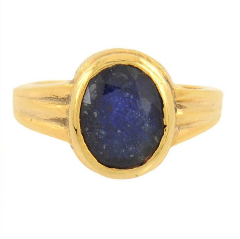 Kataria Jewellers 5.69 Carat 6.25 Ratti Natural Blue Sapphire Neelam Ashtdhatu Metal Ring