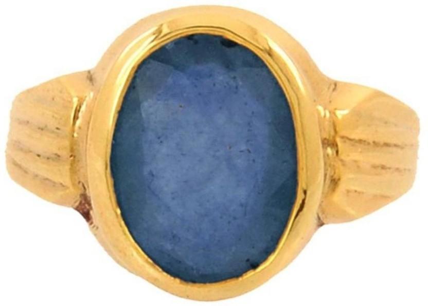 Kataria Jewellers 6.6 Carat 7.25 Ratti Natural Blue Sapphire Neelam Ashtdhatu Metal Ring