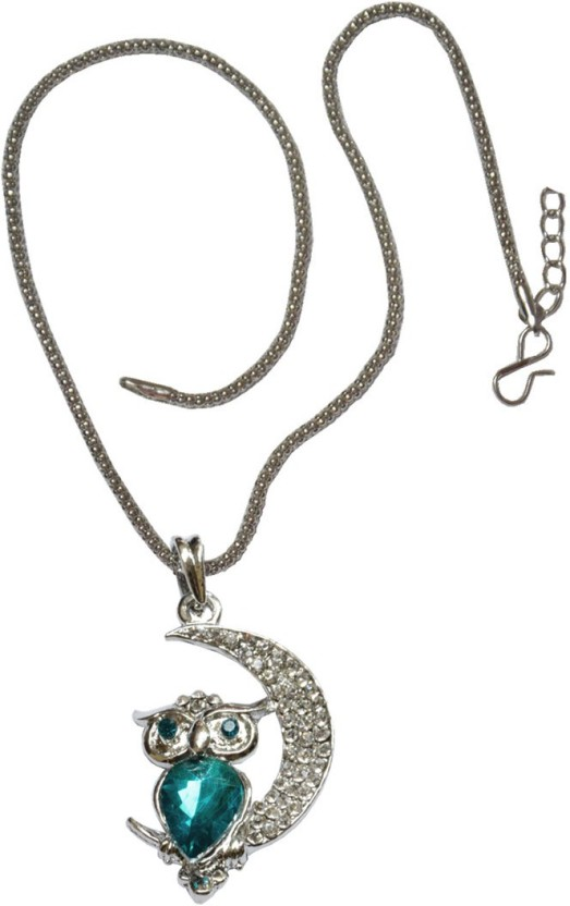 Men Style Green Crystal Owl Fashionable Jewelry ANKU003033 Alloy Pendant Set