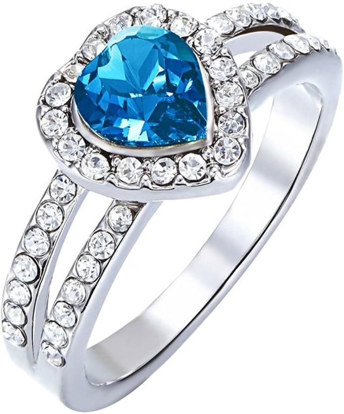 YELLOW CHIMES Blue Heart Alloy Swarovski Crystal Rhodium Plated Ring