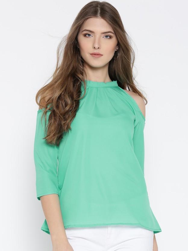 U&F Casual 3/4th Sleeve Solid Women Light Green Top
