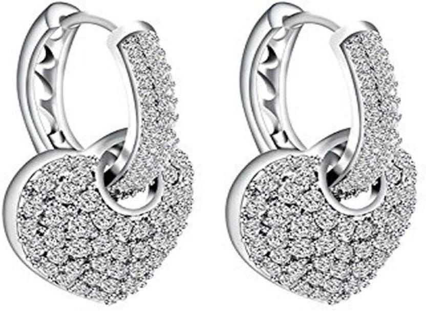 Yellow Chimes Heart in Hoop Platinum Plated Two Way Swarovski Crystal Alloy Hoop Earring