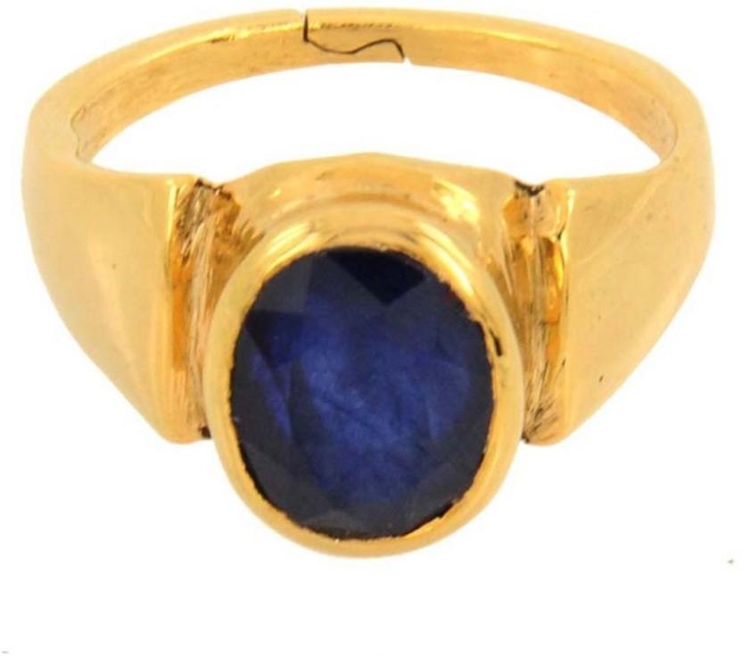 Kataria Jewellers 7.51 Carat 8.25 Ratti Natural Blue Sapphire Neelam Ashtdhatu Metal Ring