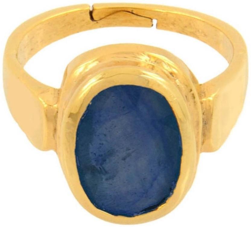 Kataria Jewellers 4.78 Carat 5.25 Ratti Natural Blue Sapphire Neelam Panchdhatu Metal Ring