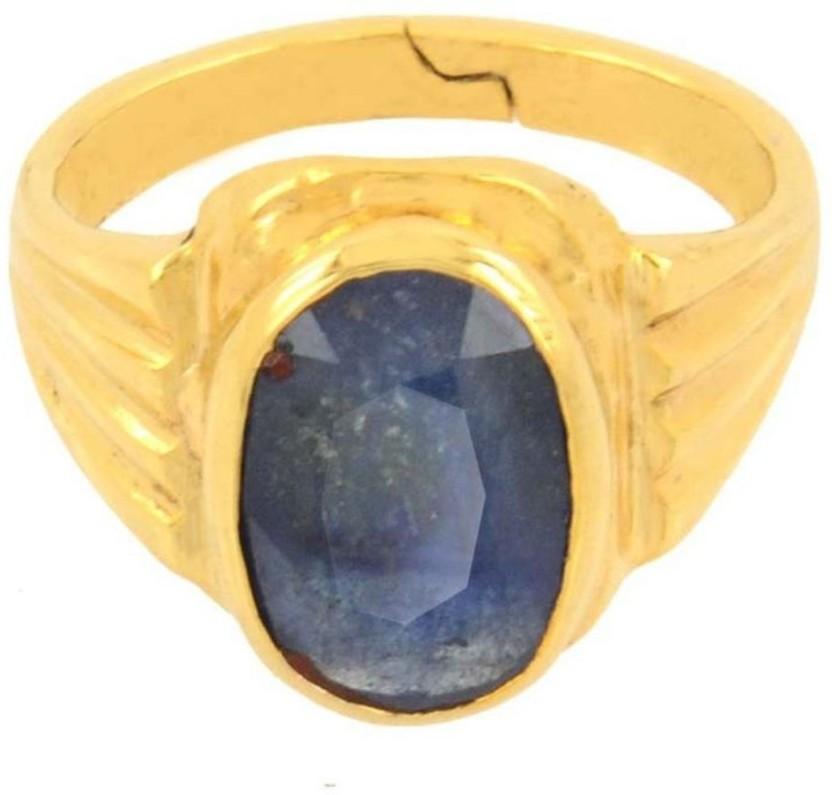 Kataria Jewellers 3.19 Carat 3.5 Ratti Natural Blue Sapphire Neelam Ashtdhatu Metal Ring
