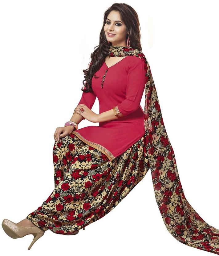 Jevi Prints Synthetic Printed, Solid Salwar Suit Dupatta Material